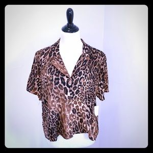 CR Short Sleeve Button Up Leopard Top